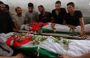 تشييع جثماني الشهيدين علاء زياد أبو عاصي (21 عاما)، وناجي جميل أبو عاصي (18 عاما) شرق خانيونس