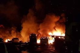 """حريق ضخم في """"مشطب"""" للسيارات غرب جنين"""
