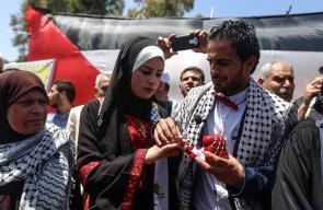 عقد قران عروسين في خيمة الأسرى بغزة