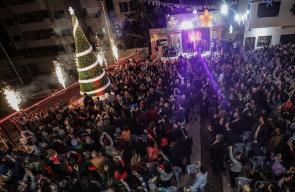 الاحتفال بإضاءة شجرة عيد الميلاد في غزة الليلة