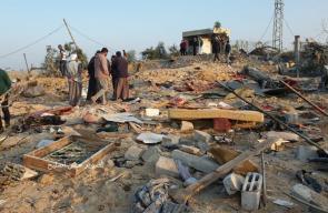 مكان المجزرة التي ارتكبها الاحتلال في عائلة السواركة بدير البلح