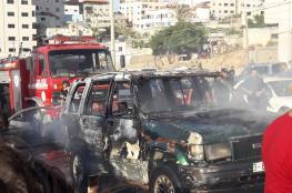 مواطن يحرق مركبته غرب غزة اليوم والمرور توضح