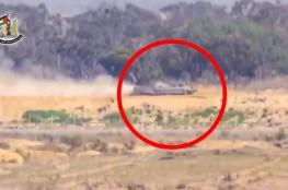 لحظة استهداف آلية عسكرية شرق البريج