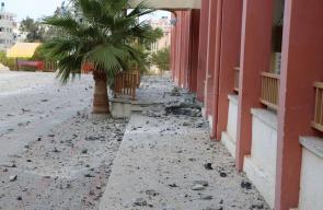 الأضرار التي لحقت بمدرسة عدنان الغول بفعل التصعيد الإسرائيلي الأخير