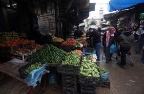 سوق الخضار في البلدة القديمة بمدينة نابلس صباح اليوم
