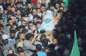 جماهير البريج تشيع جثمان الشهيد محمد إسماعيل