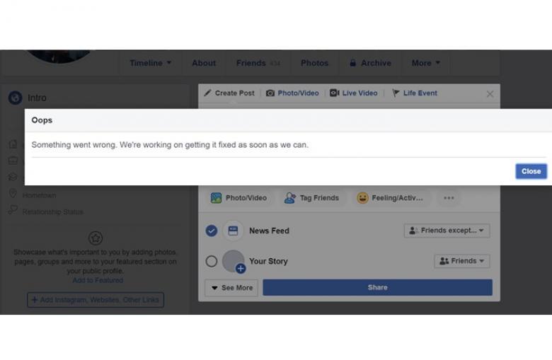 """عطل يوقف النشر على """"فيسبوك"""" حول العالم"""