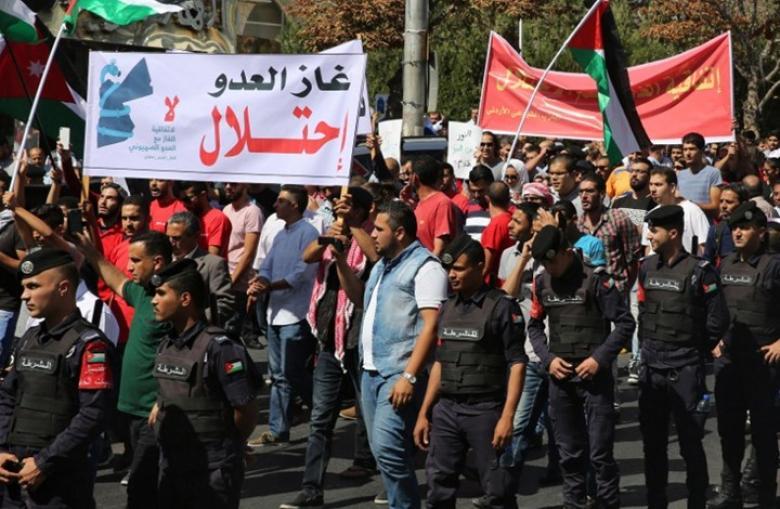 أردنيون ينذرون الحكومة لا غاز مسروقا من فلسطين
