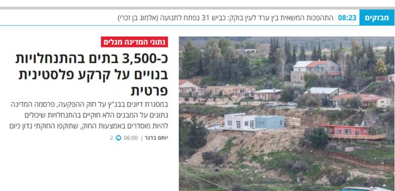 3500 وحدة استيطانية مقامة على أراضي فلسطينية