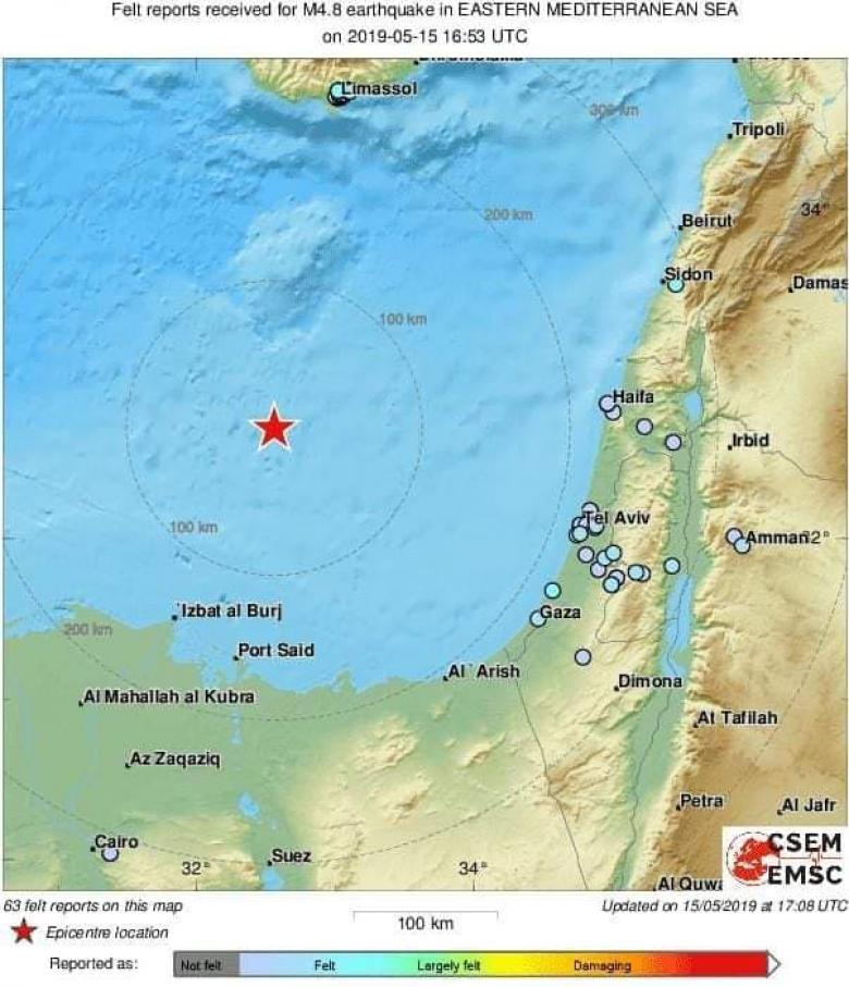 زلزال بقوه 4.8 يضرب وسط فلسطين المحتلة