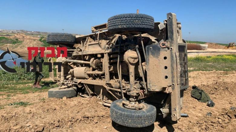 4 إصابات بانقلاب مركبة عسكرية إسرائيلية شمال القطاع