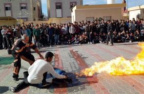 الدفاع المدني برفح يُنظم مناورة تدريبية لمدرسة عبد العزيز الشقاقي الثانوية
