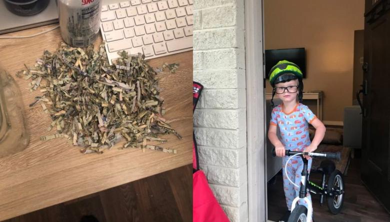 """طفل أمريكي يضع مدّخرات والديه في ماكينة """"فرم"""" الورق"""