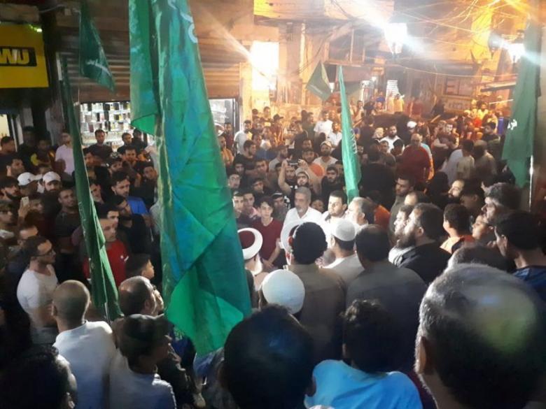 """تظاهرة في """"عين الحلوة"""" رفضًا للبوابات الإلكترونية"""