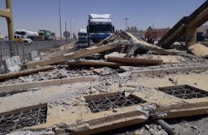 انهيار جسر مشاة في منطقة ضبعة بالأردن