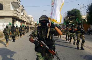 مسير عسكري لكتائب القسام شرق محافظة خانيونس