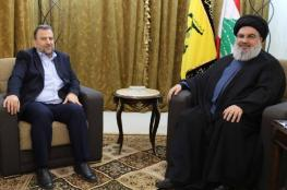 نصر الله يستقبل العاروري في لبنان