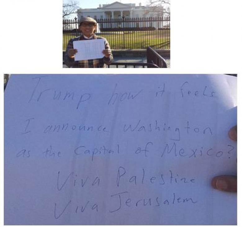 من أمام البيت الأبيض.. فلسطيني يعلن واشنطن عاصمة للمكسيك