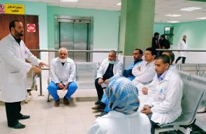 تدريب طاقم الحجر الصحي بمستشفى شهداء الأقصى
