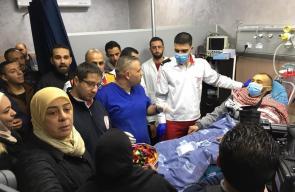 لحظة وصول المحرر وليد شرف إلى مجمع فلسطين الطبي في رام الله
