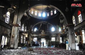 حريق هائل يلتهم مسجد الفاروق وسط دمشق