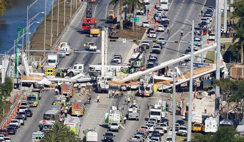 السلطات الأمريكية تعرض مشاهد لانهيار جسر في فلوريدا