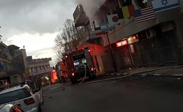 """إصابات إثر حريق بفندق في """"صفد"""""""