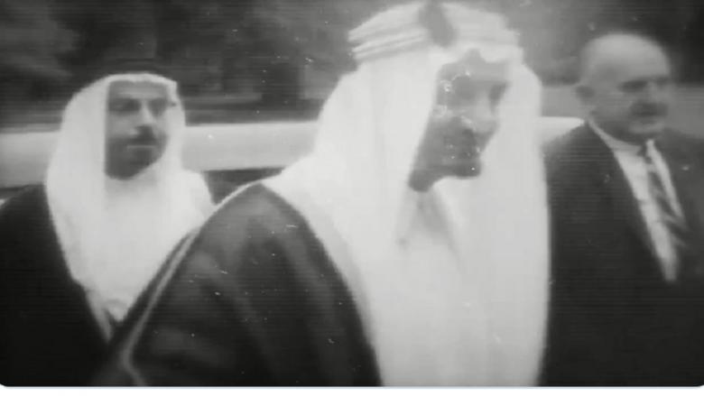 فيديو نادر لعبد العزيز آل سعود والرئيس الأمريكي روزفلت