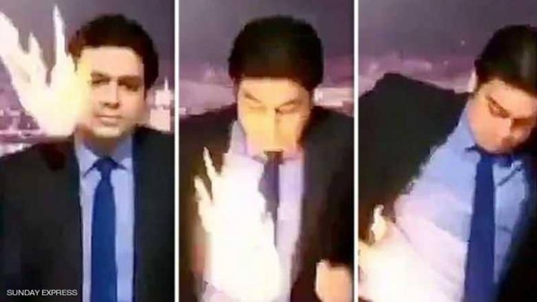 مذيع تلفزيوني يحترق على الهواء مباشرة