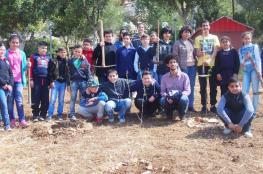 حملة غرس للأشجار في منتزه سما نابلس