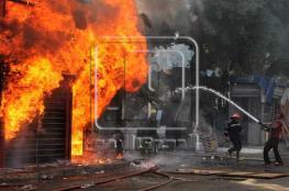الدفاع المدني يخمد حريقا وسط مدينة جنين