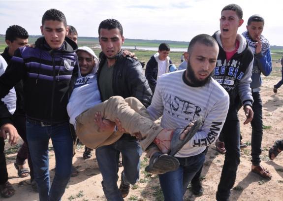 ثلاثة شهداء وأكثر من 20 إصابة بإطلاق الاحتلال النار على المتظاهرين شرق غزة