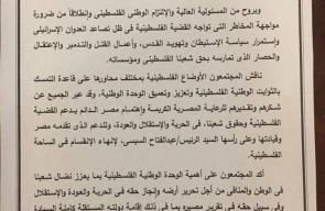 البيان الختامي لاجتماعات الفصائل الفلسطينية بالقاهرة