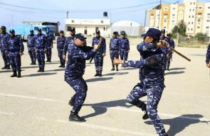 عروض عسكرية نفذتها قوات التدخل وحفظ النظام بشرطة خانيونس