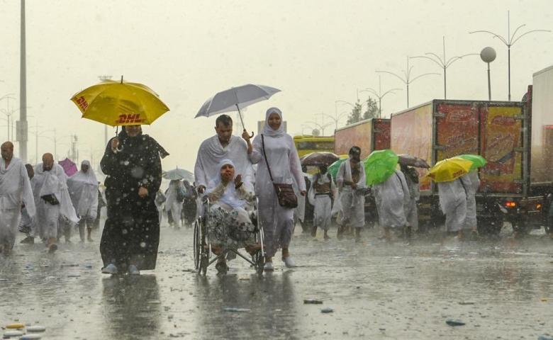 هطول أمطار رعدية غزيرة على المشاعر المقدسة