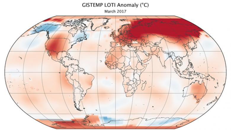 مارس 2017 ثاني أكثر الشهور حرارة منذ 137 عاما