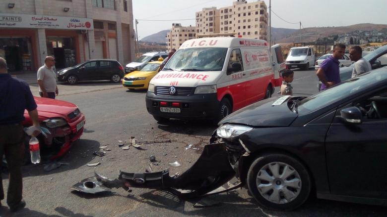 إصابة سبعة مواطنين في حادث سير جنوب نابلس