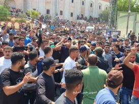 وداع مؤثر للشهداء الثلاثة الذين ارتقوا ليلة أمس شمال قطاع غزة