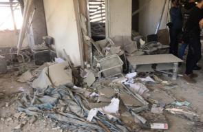 آثار قصف الاحتلال مقر الهيئة المستقلة لحقوق الانسان بغزة