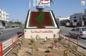 دير البلح تُزين مدخلها بخارطة فلسطين