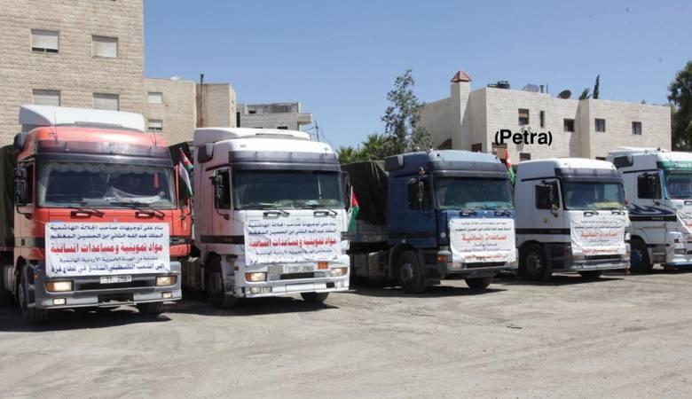 قافلة مساعدات إنسانية من الأردن لقطاع غزة