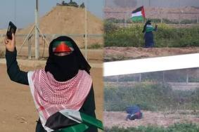 """أم مجاهد.. """"سارية"""" علم فلسطين بمسيرات العودة"""