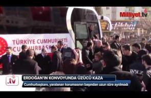 حافلة تقل الرئيس التركي تدهس أحد حراسه وأردوغان لم يفارقه