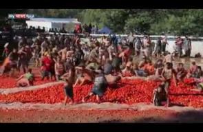 باستخدام 100 طن من الطماطم.. انطلاق حرب الطماطم في تشيلي
