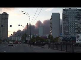 حريق هائل في مركز تسوق في موسكو