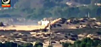 استهداف دبابة ميركافاة داخل موقع زيكيم بصاروخ موجه
