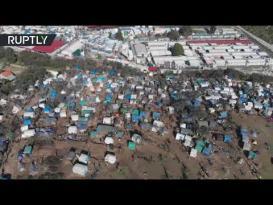 لقطات جوية لجحيم مخيم موريا في جزيرة ليسبوس اليونانية