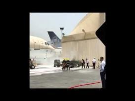 احتراق مقدمة طائرة للخطوط السعودية