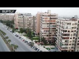 شوارع دمشق الخالية من المارة بعد حظر التنقل