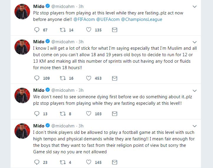ميدو يثير الجدل بشأن اللاعبين الصائمين
